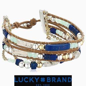 ☘️LB 5 Layer Seastone Beaded Leather Bracelet RARE